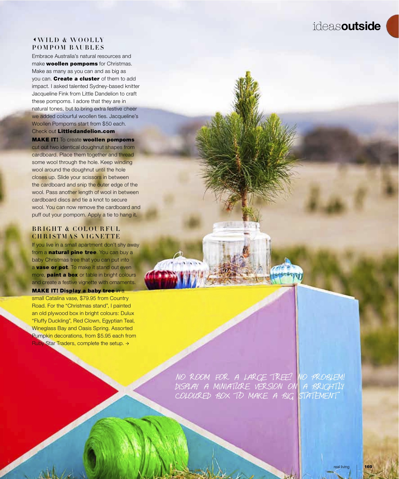 Little Dandelion pom pom in Real Living Magazine Christmas 2012