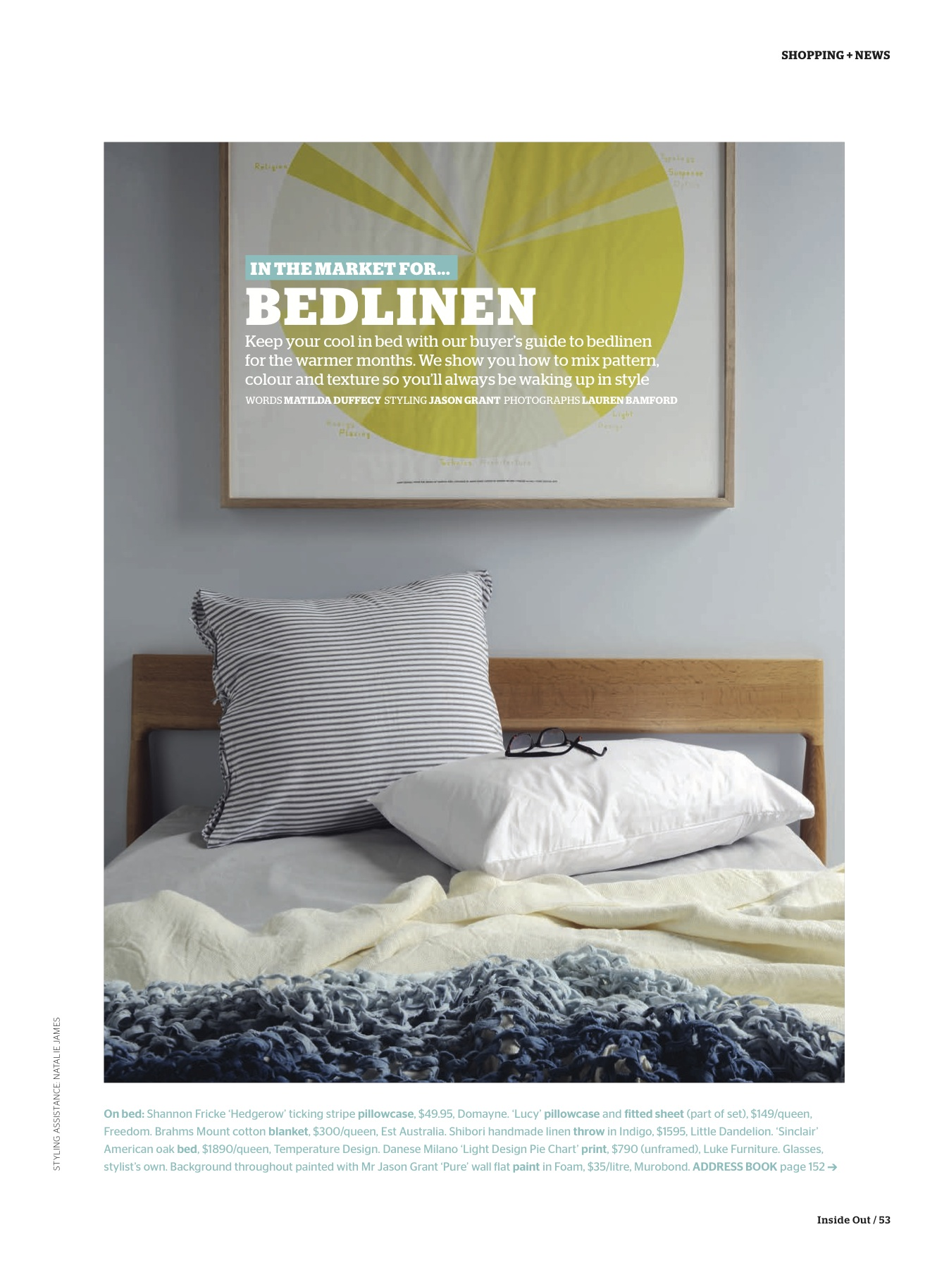 Inside Out Magazine January Issue Bed Linen Feature as styled by Mr Jason Grant