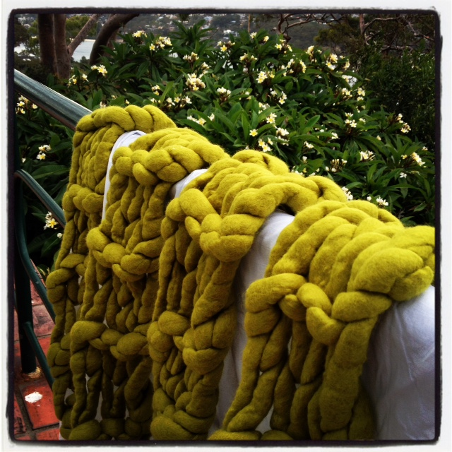 Green Scarf - felted and drying