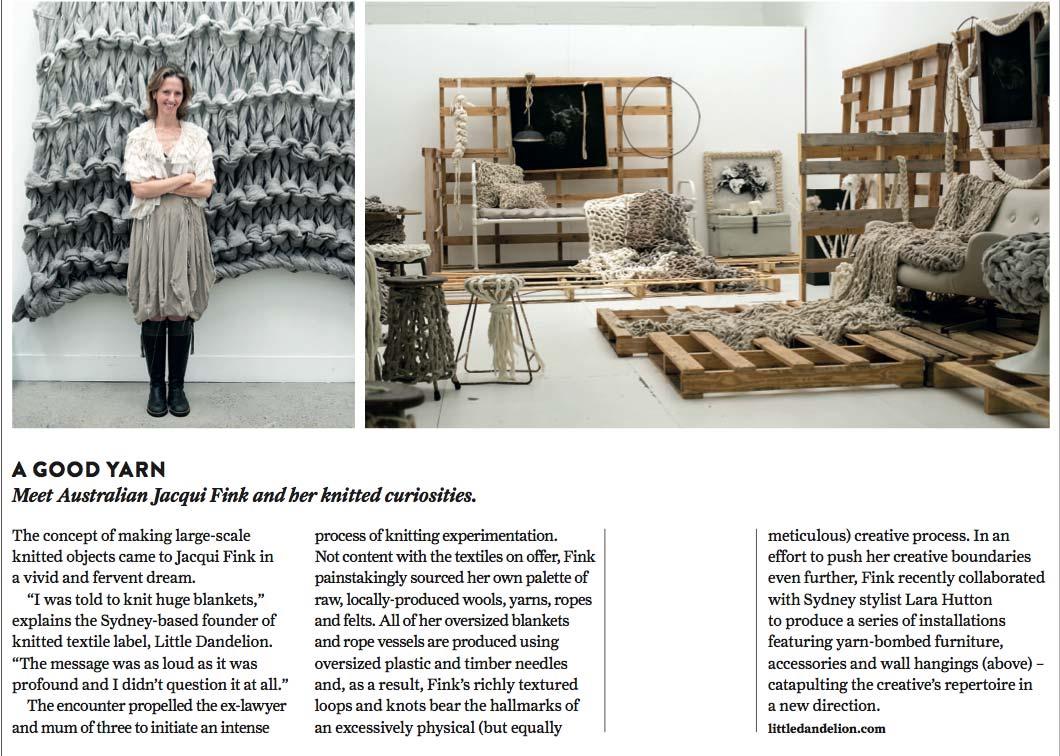 Urbis Magazine: Meet Australian Jacqui Fink and her knitted curiosities.