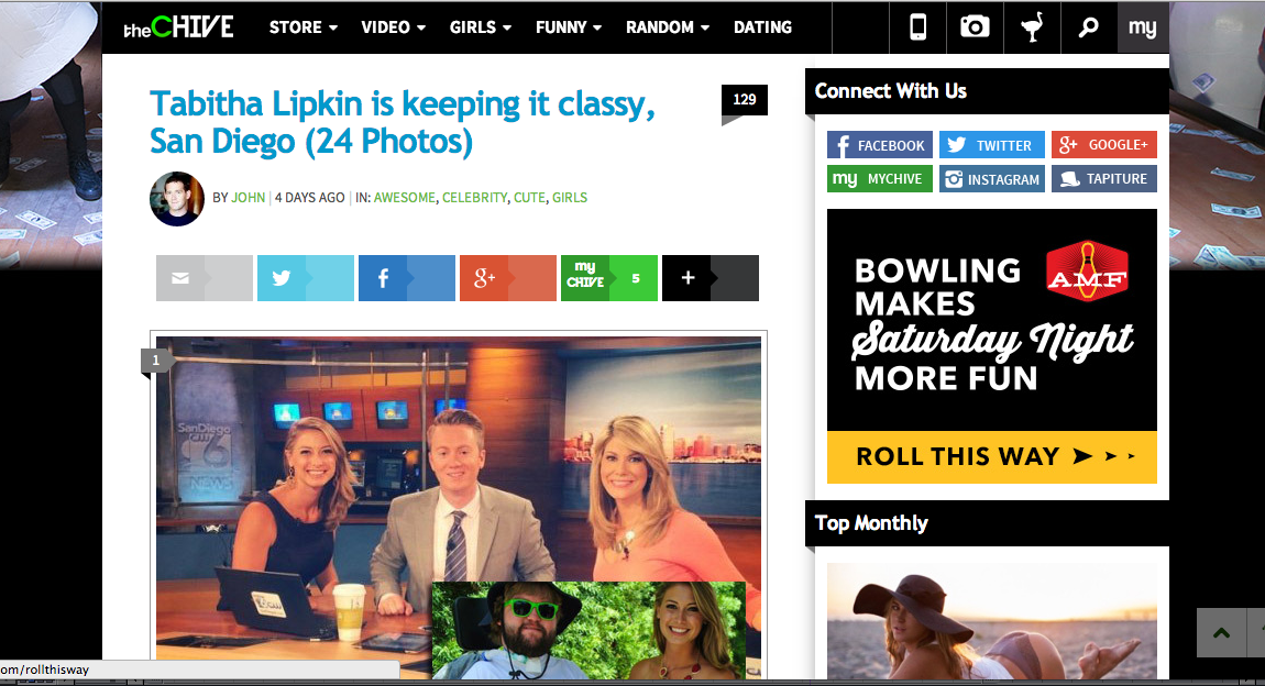 """Featured on the front page of The Chive for """"Keepin' It Classy, San Diego"""". Check out the Article  HERE"""