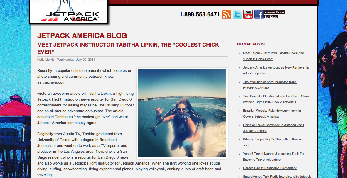 """Featured on Jetpack America's Blog as the """"coolest chick ever"""". Check out the article  HERE"""