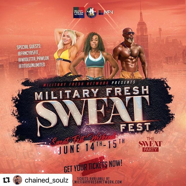 #Repost @chained_soulz with @make_repost ・・・ ATTENTION ALL:🚨🚨 It's gonna be worth the trip‼️💪👌Mark your calendars 📆 and book your travel. ✈️ ALL EVENTS ARE IN HARLEM, NYC 🗽🍎 - Get your tickets now for the 2019 MILITARY FRESH SWEAT FEST WEEKEND‼️ - WE WILL ADD ALL ATTENDEES TO THE SWEAT FEST CHAT GROUP - FOR ALL UPDATES. - - We have partnered with the @thesweatparty and many more to host an extraordinary 2- day event filled with NETWORKING, FITNESS & FUN for our Military Members, Veterans, Mil Spouses, to include those who support the military community. 💪🇺🇸 - - CONFIRMED SPECIAL GUESTS: @fancy85fit_  @wioletta_pawluk  @titusunlimited - - - INVITED SPECIAL GUESTS: @diamondcut_fitness  @mstanybootcamp  @supportmilitarymuscle @theverowells  @kokeyepes  @navathebeast  @est.ninetwo  @veromastodon  @zumbamami_1  @qfrance @raheemthetrainer_nyc - - We've secured a beautiful hotel with discounted group rates for all attendees. - - WHAT DOES THE MILITARY FRESH SWEAT FEST. 💦 💪WEEKEND CONSIST OF❓ - - FRIDAY NIGHT: JUNE 14TH - 8:00pm -12:00pm - Military Fresh Networking Event - Meet & Greet. - - SATURDAY MORNING: JUNE 15th - 9:00AM - 2:00PM - Military Fresh Sweat Fest 💦 A LINE UP OF DIFFERENT TRAINERS 💪 - - SPONSOR & VENDOR  OPPORTUNITIES AVAILABLE - - SATURDAY NIGHT:  JUNE 15th- 9:00PM - UNTIL Military Fresh Gala 💃🏽 🕺🏻 DRESS TO IMPRESS - - TICKETS 🎫 ON SALE NOW‼️ CLICK GET TICKETS IN @militaryfreshnetwork BIO. - - #armyfresh #militaryfreshnetwork #navyfresh #semperfresh #airforcefresh #thesweatparty #fitness #fitnessevent #healthiswealth #marketing #marketing101 #veteranowned #veteran #military #militaryfitness #bootcamp #yoga #zumba #stretching #harlem #nyc #newyork #sponsorshipopportunity #armyfreshfitness #militaryfreshfitness #fitnessevent #mfngroup #networkingevent #militaryfresh #military