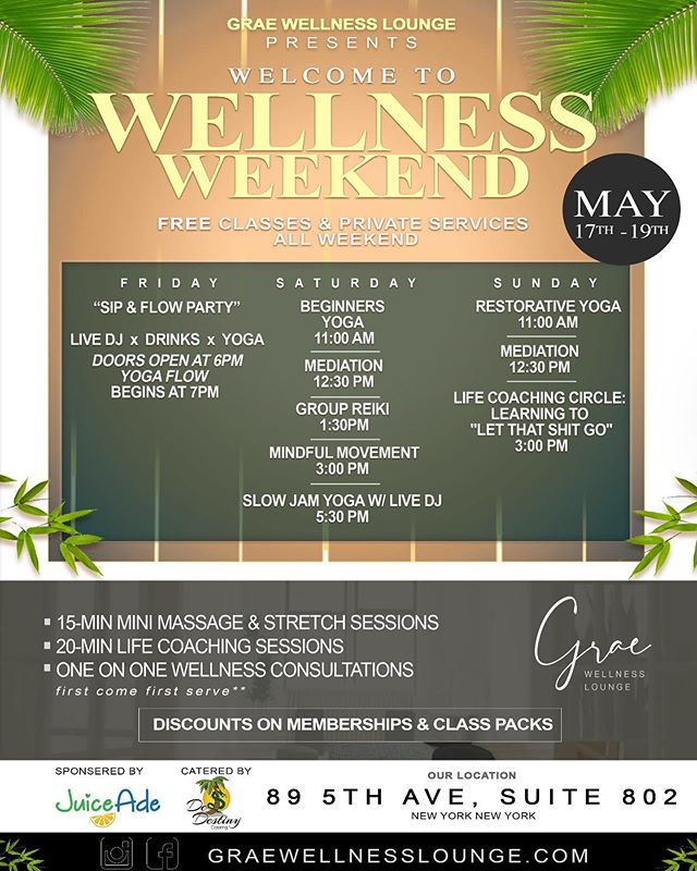 Join @graewellnesslounge  for their PRE GRAND OPENING WELLNESS WEEKEND!! Free Classes and experiences May 17-19.  89 5th Ave Suite 802. Photocred @symmetrythomas  @nestlesnipes_  #fitness  #wellness #massage #yoga #dj