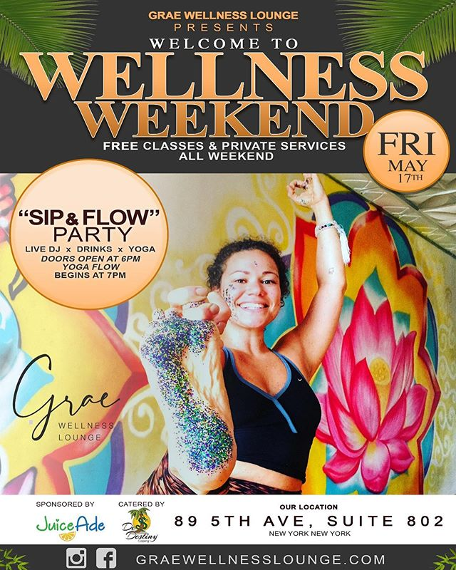 "Join us Friday night for our first class of ""Welcome to Wellness"". The ""Sip & Flow"" Party will be DJ'd by our owner @mrgrae with yoga led by our dope instructor @iamannakrishtal ! . . . Our Grand Opening is Monday, May 20th, with classes from 7am until 8:30pm! Including dope conscious and cool classes like Yoga After Dark on Friday nights!!! . . . Join us ALL weekend for unlimited FREE classes and private services. Come to connect with our amazing team! Come to show yourself love. Come to begin your wellness journey. Come to learn new practices you can incorporate into your wellness lifestyle. Come with a friend who may be new to this. Come to commune, align and recharge! We are not just another wellness studio, we are building an inclusive community to promote connection, alignment, and healing. . . . DM or email @graewellnesslounge to RSVP! Flyer designs by: @symmetrythomas #community #communityhealing #letshealtogether #diversityinwellness #yogainnyc #nyc #union #diversity #graewellnesslounge #GWL #GraeWellness #GraeWellnessLounge #TheSweatParty #SweatApparel #Sweat #SweatFest #SweatForTheGram #SafeSpace #blackyogis #blackownedbusiness #yoga #diversity #wellness  #healinghands  #reiki #hypnosis #massage #meditation #community #blackyogis #diversity #diversityinwellness"