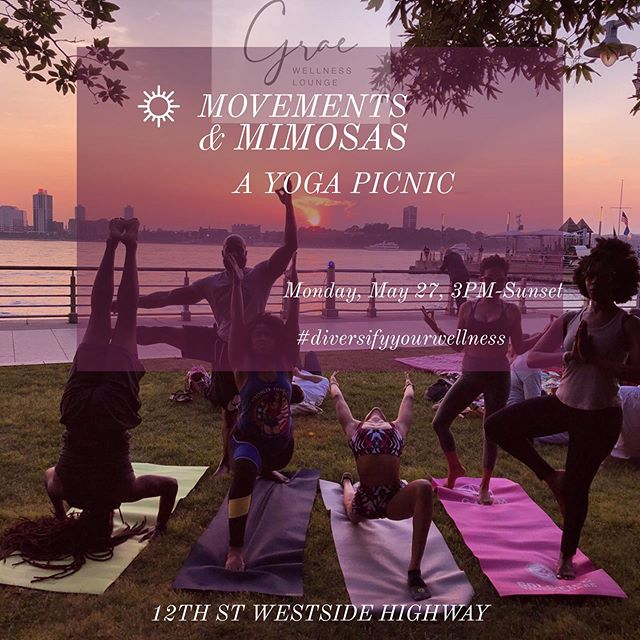 We are closed for the holiday tomorrow, but the wellness flow doesn't stop! Join the @graewellnesslounge tribe for Movement & Mimosas - A Yoga Picnic. #nyc #diversifyyourwellness #diversityinwellness #yoganyc #unionsquare #greawellnesslounge #blackyogis