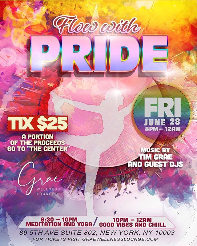 Tonite, we are having a yoga party!!! Come meditation, flow and move with PRIDE next Friday with the @graewellnesslounge community! Featuring : @pintsizenurse @tajharris @tiffany_viruet @angelxceara . . . $25 per person with 50% of the proceeds going to @lgbtcenternyc to support all the amazing work they do for the LGBTQ community. . . . Tell a friend and bring a friend! Register on our website and be prepared to be free, connect and discover new parts of yourself with us! Can't wait to see you there! #yoganyc #unionsquare #pride #nycpride #nycpride2019 #pride2019 #lgbtq #lgbtq🌈 #lgbt #nyc #joinus #diversifyyourwellness