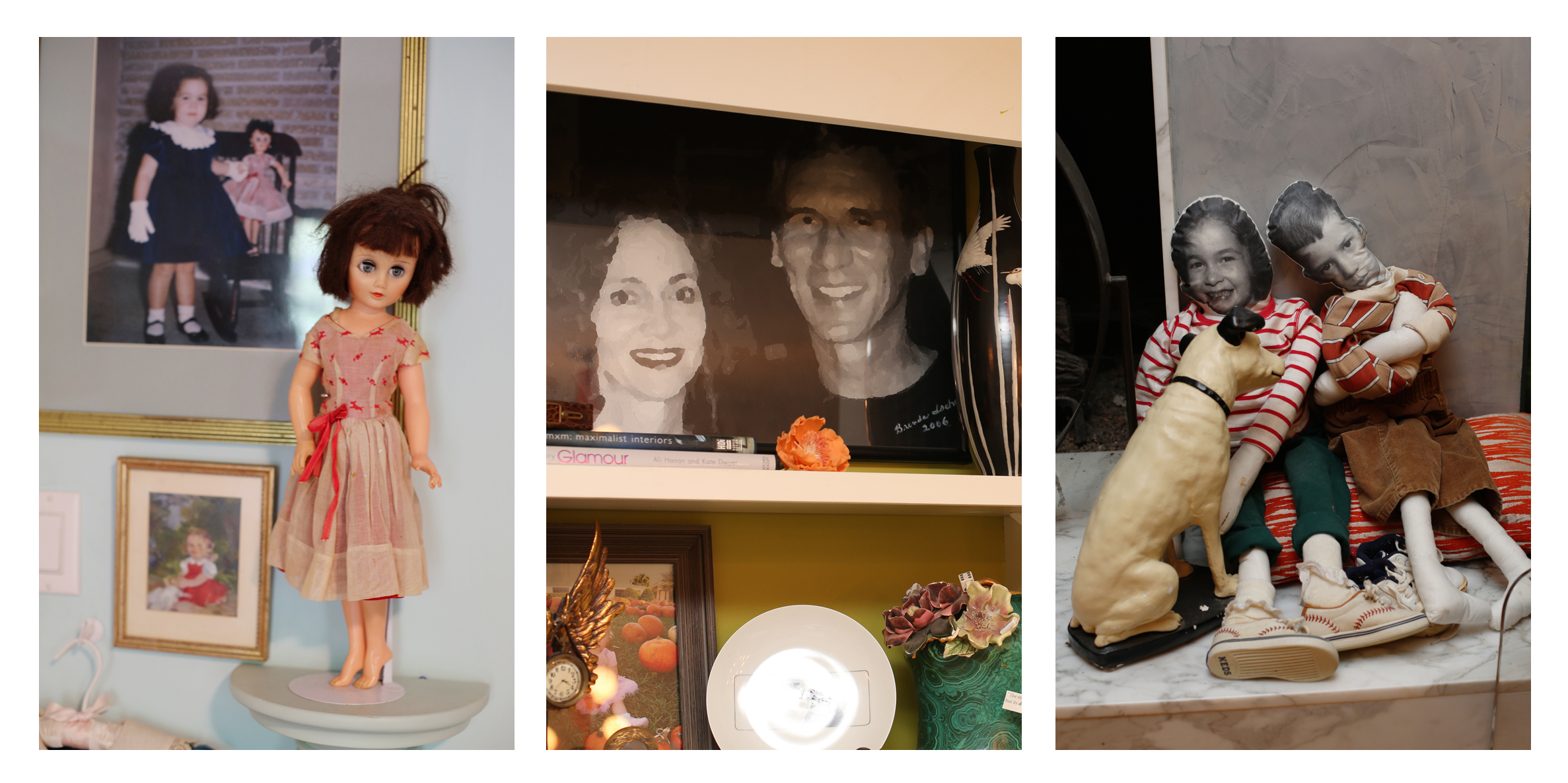 Brenda's childhood doll, a portrait of her and her husband Larry, and dolls made from photos of them as children...