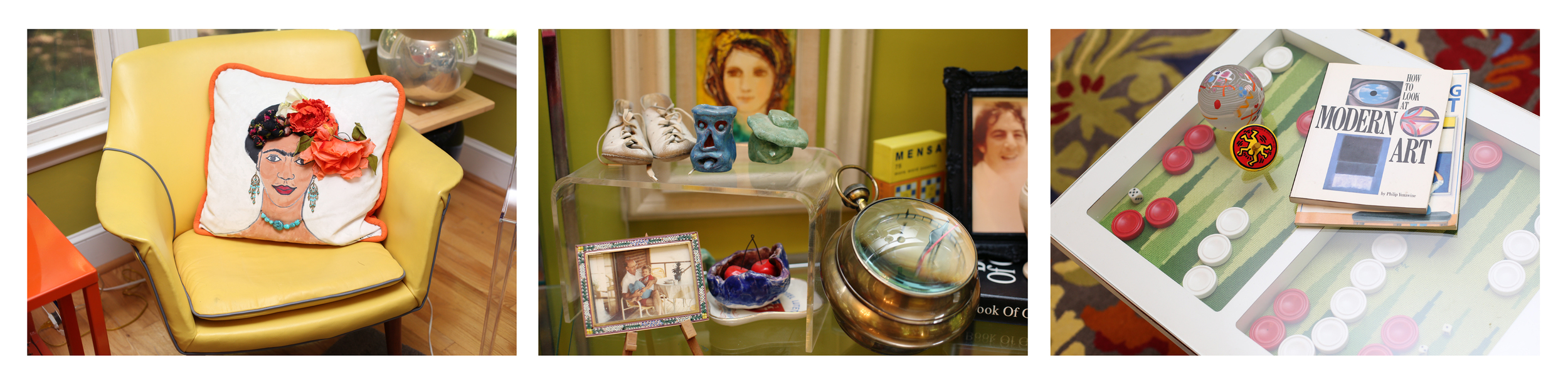 an homage to Frida, sculptures she made as a child & art books are everywhere!