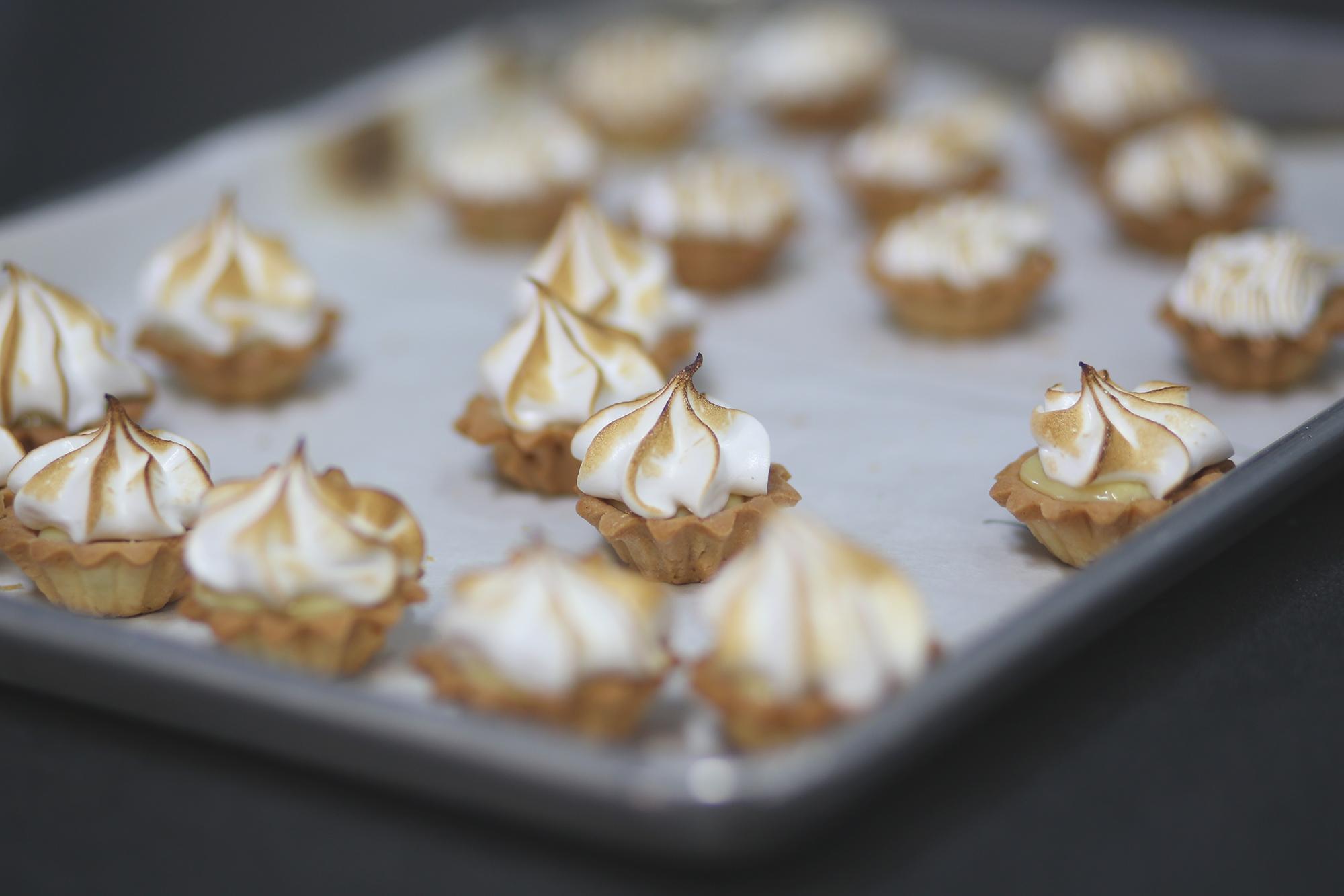 mini key lime tart with toasted meringue