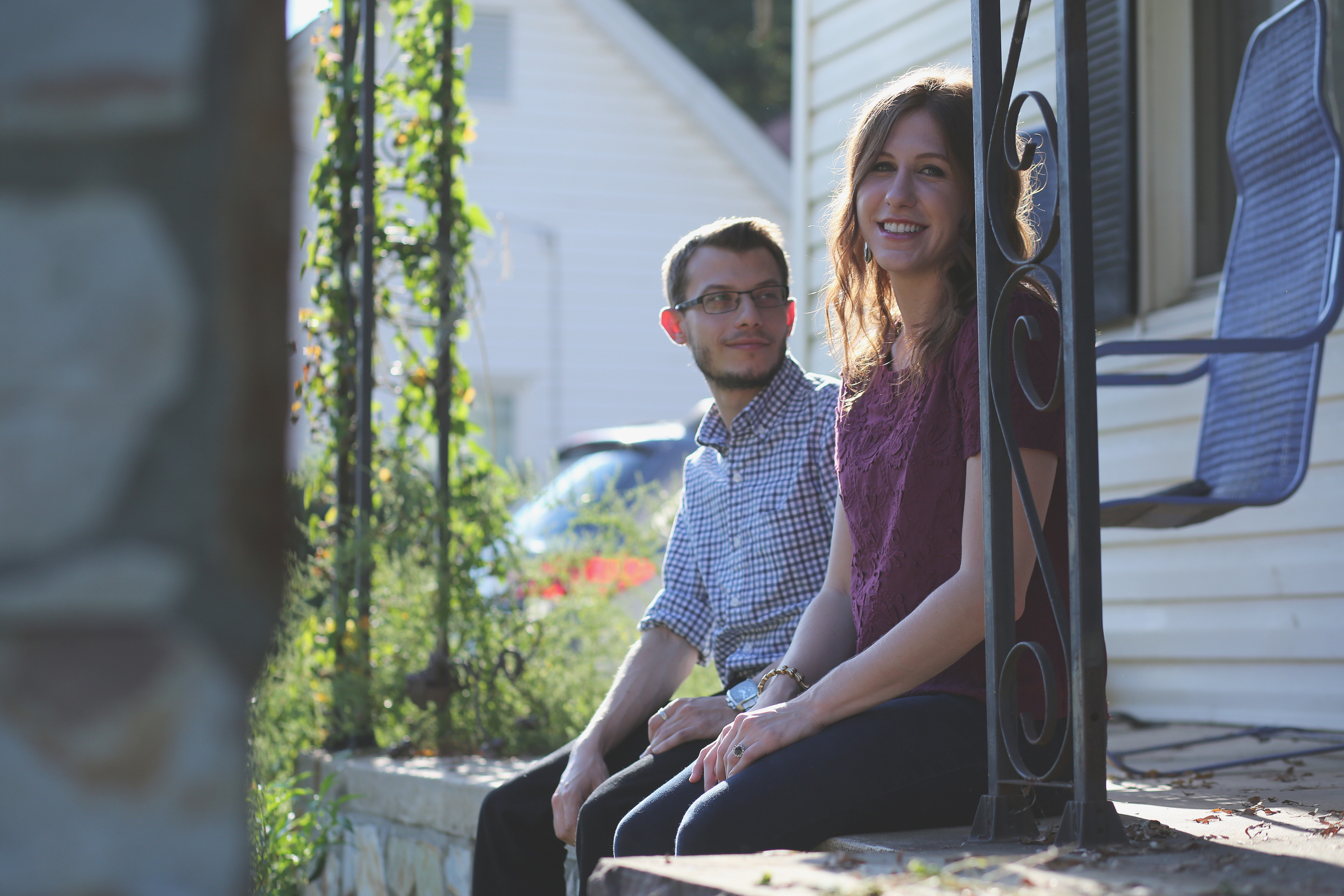 Front Porch in NoDa Charlotte NC, Engagement Photography
