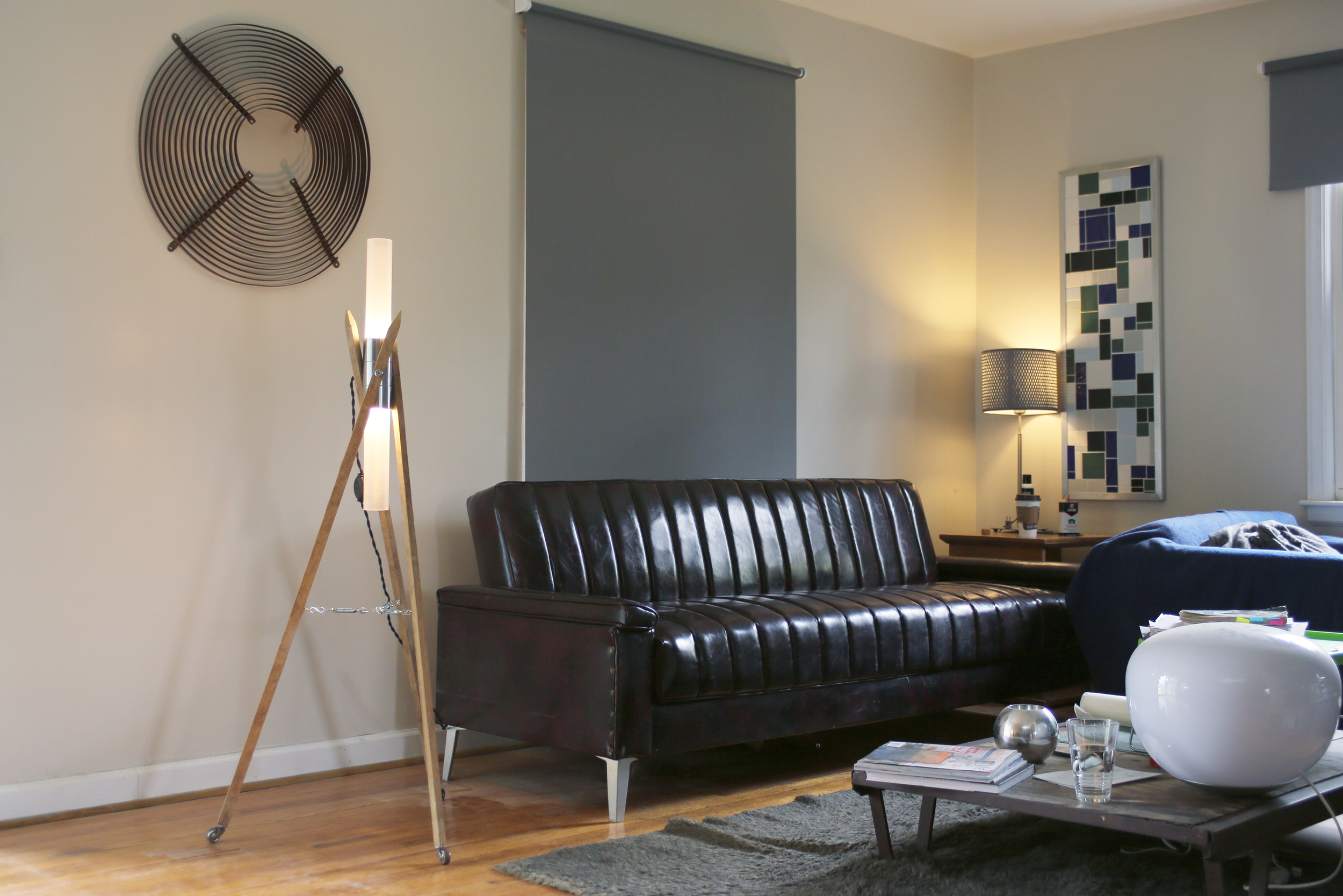 """Living space of Brian Bouwman featuring his new lamp the Namid or """"star dancer."""""""