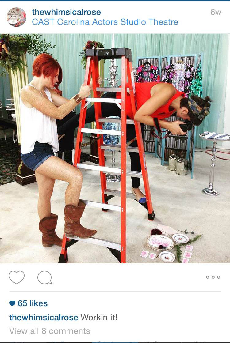 a little behind the scenes from the above photo with Sunnie Boyd @spicyfeistyred from @thewhimsicalrose