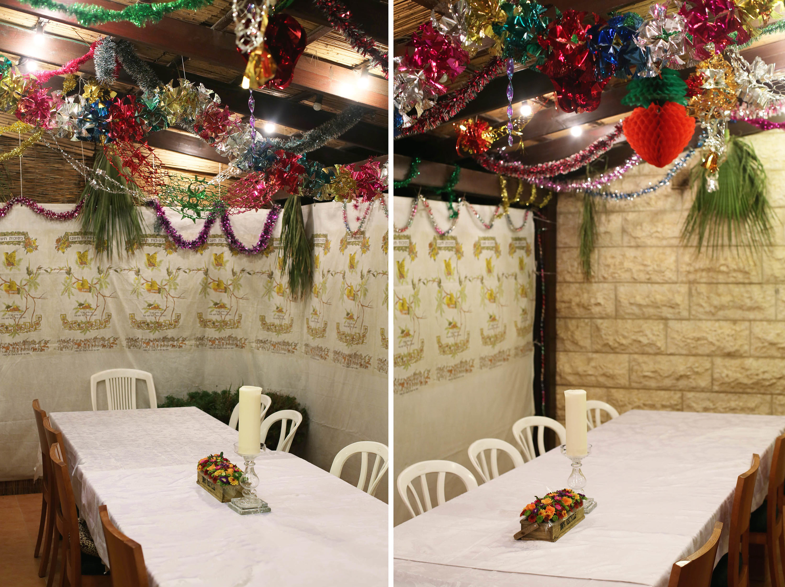 The Sukkah is decorated and the table is ready to be set.