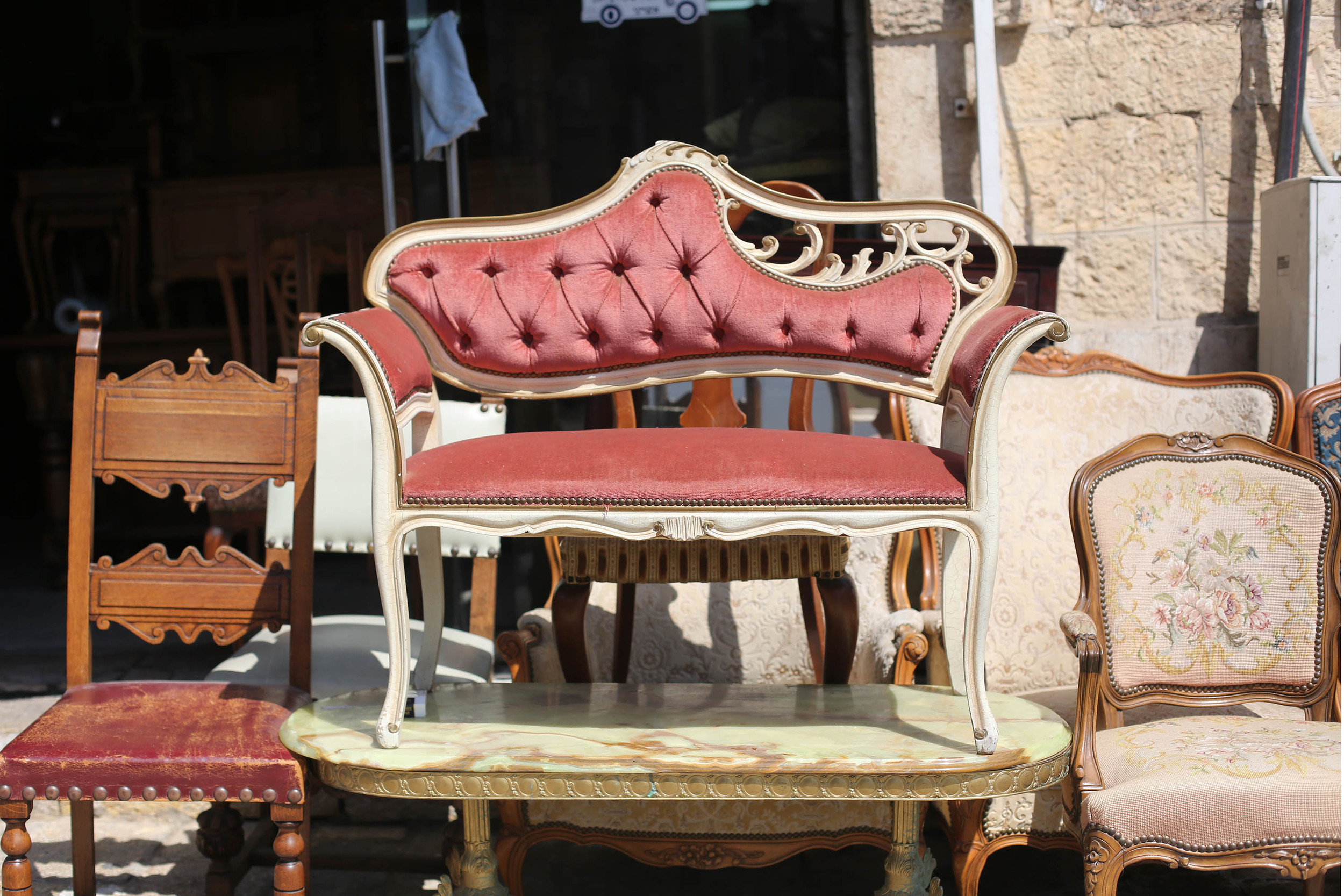 Antique furniture lined the streets.
