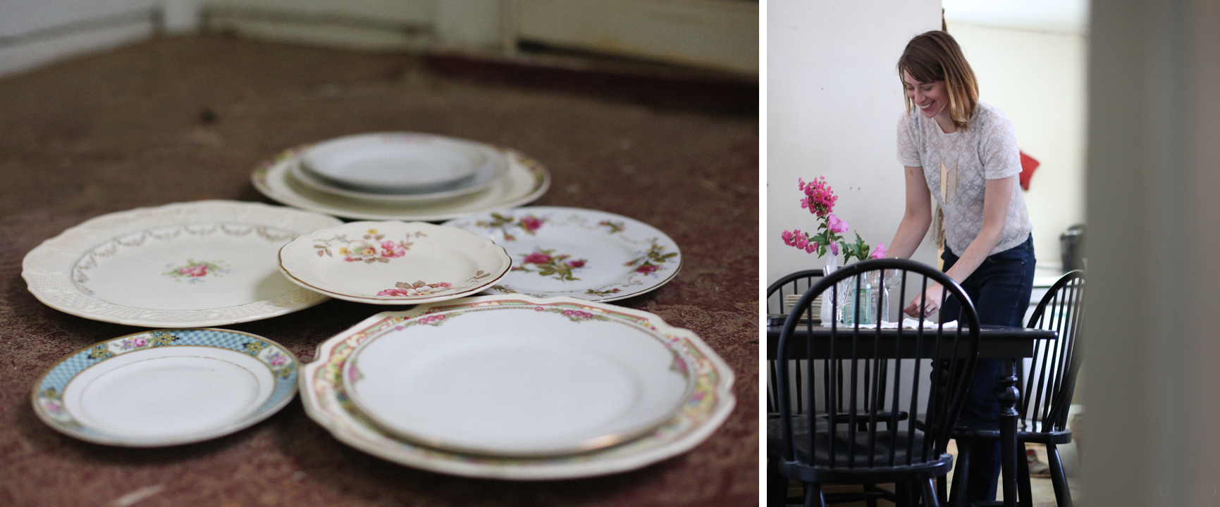 vintage charlotte china and a portrait of Amy in her home