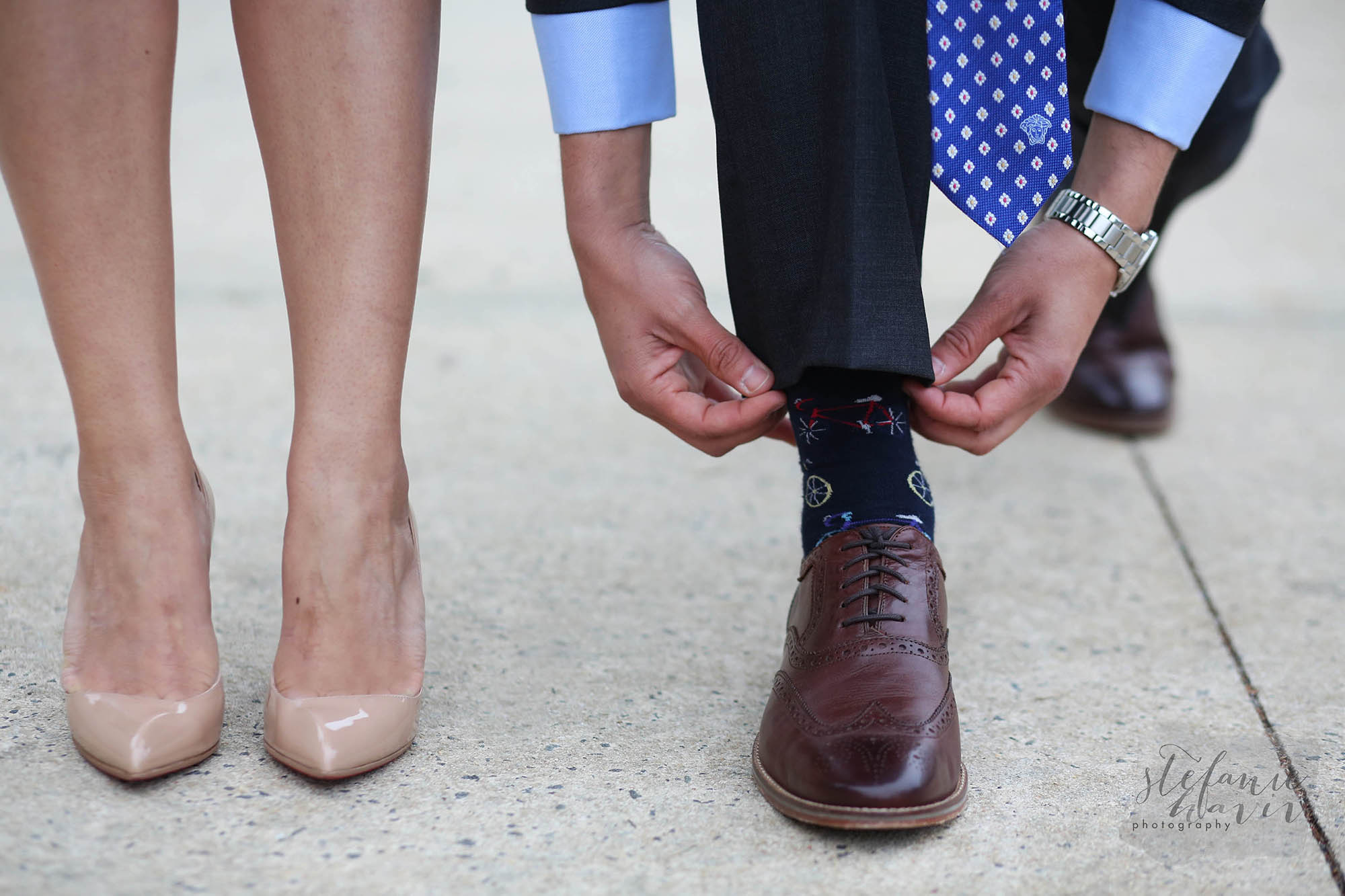 How to get the tie and the sock in the photo at the same time---score!