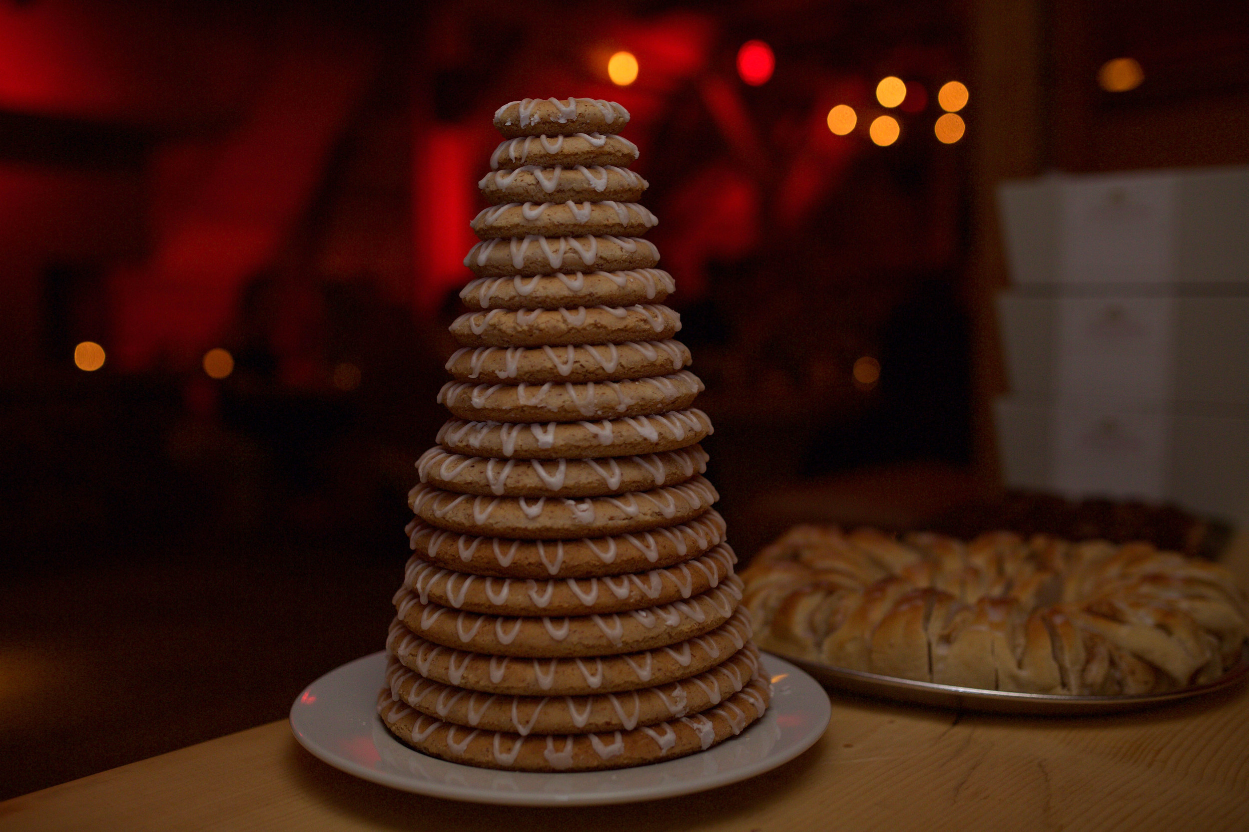 traditional Norwegian wedding cake called a  kransekage (wreath cake) and is made of stacks of danish. YUMM!