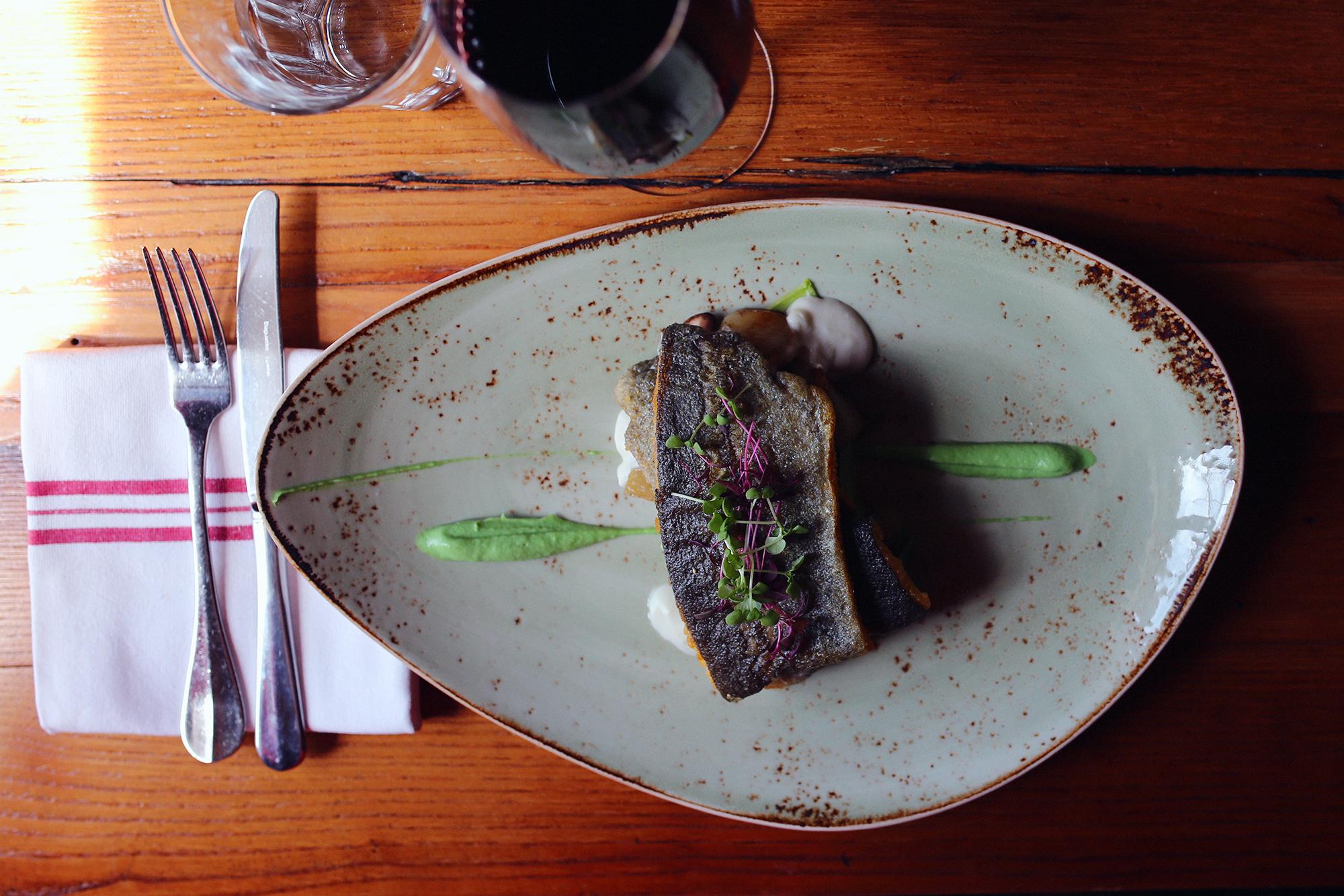 NC trout: asparagus, mushrooms, sunchokes, zucchini, white wine cream