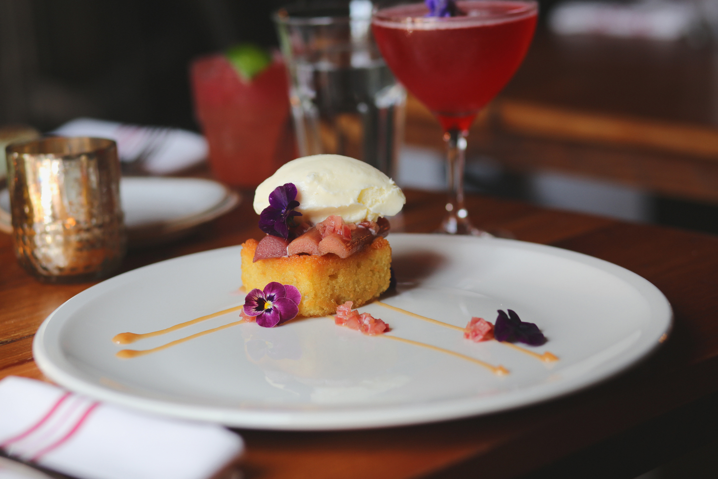 la torta: orange blossom almond cake, vanilla poached rhubarb, goat milk gelato