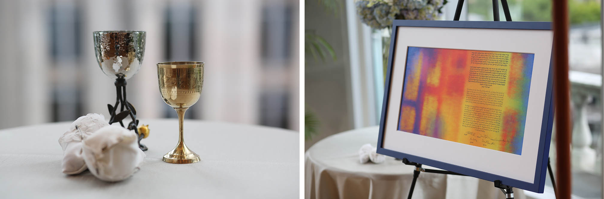the glasses, wine goblets and the beautiful Ketubah