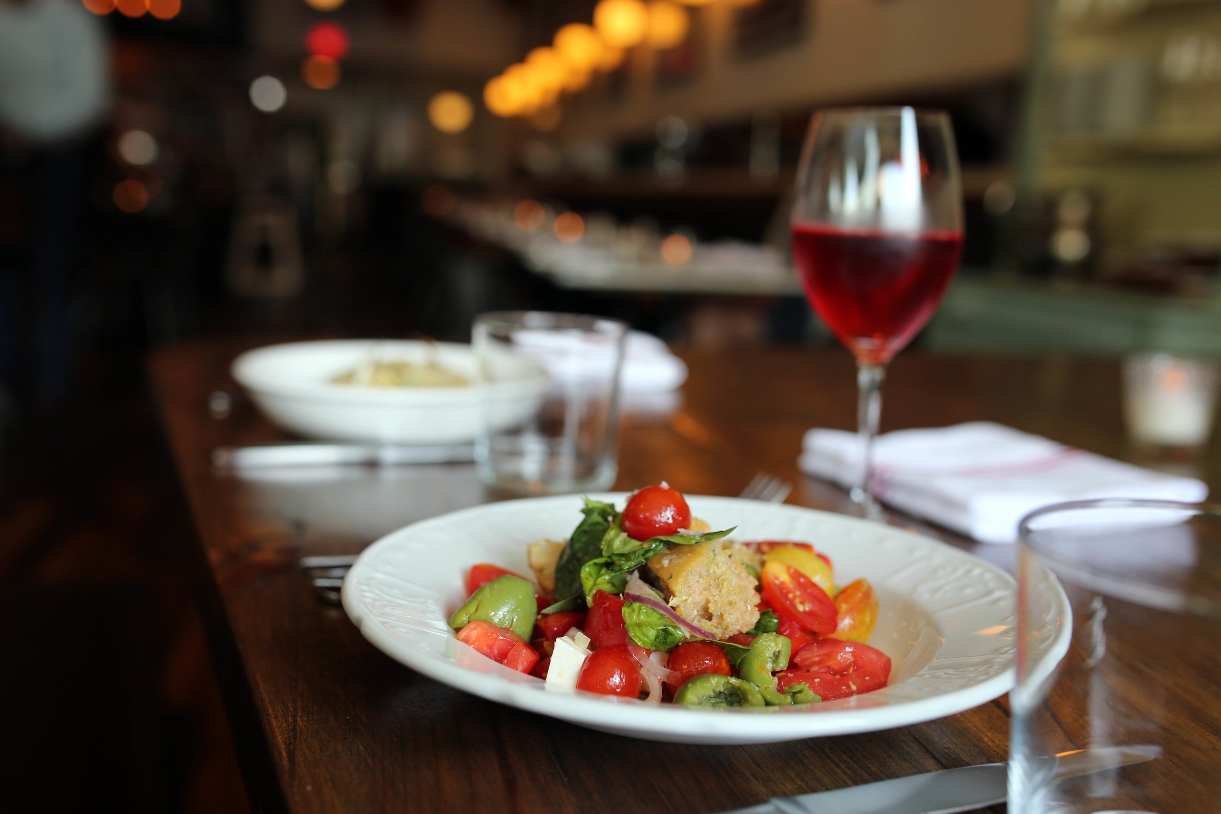 panzanella (bread salad with heirloom tomatoes, olives and basil)