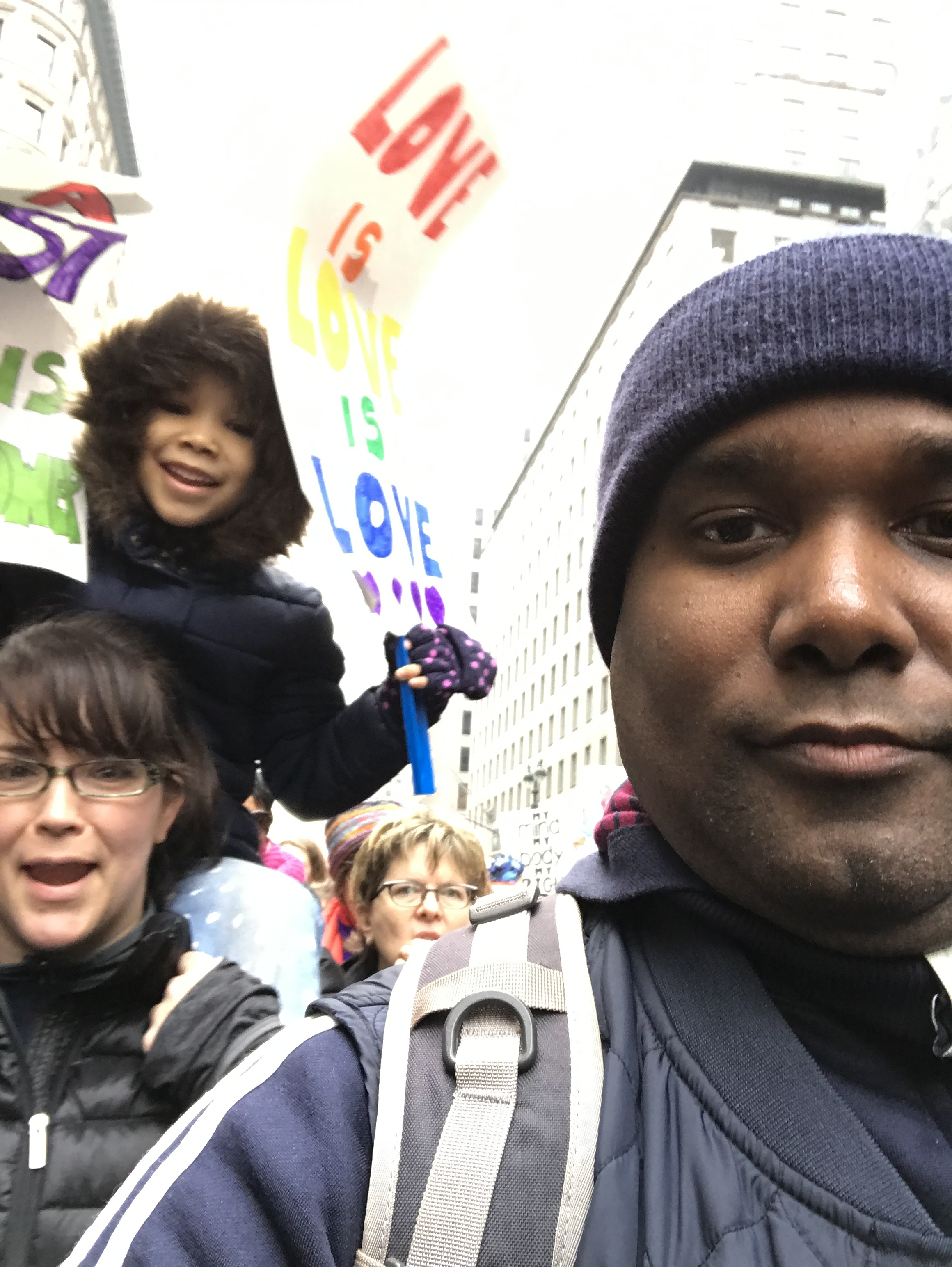 My family and I marching.