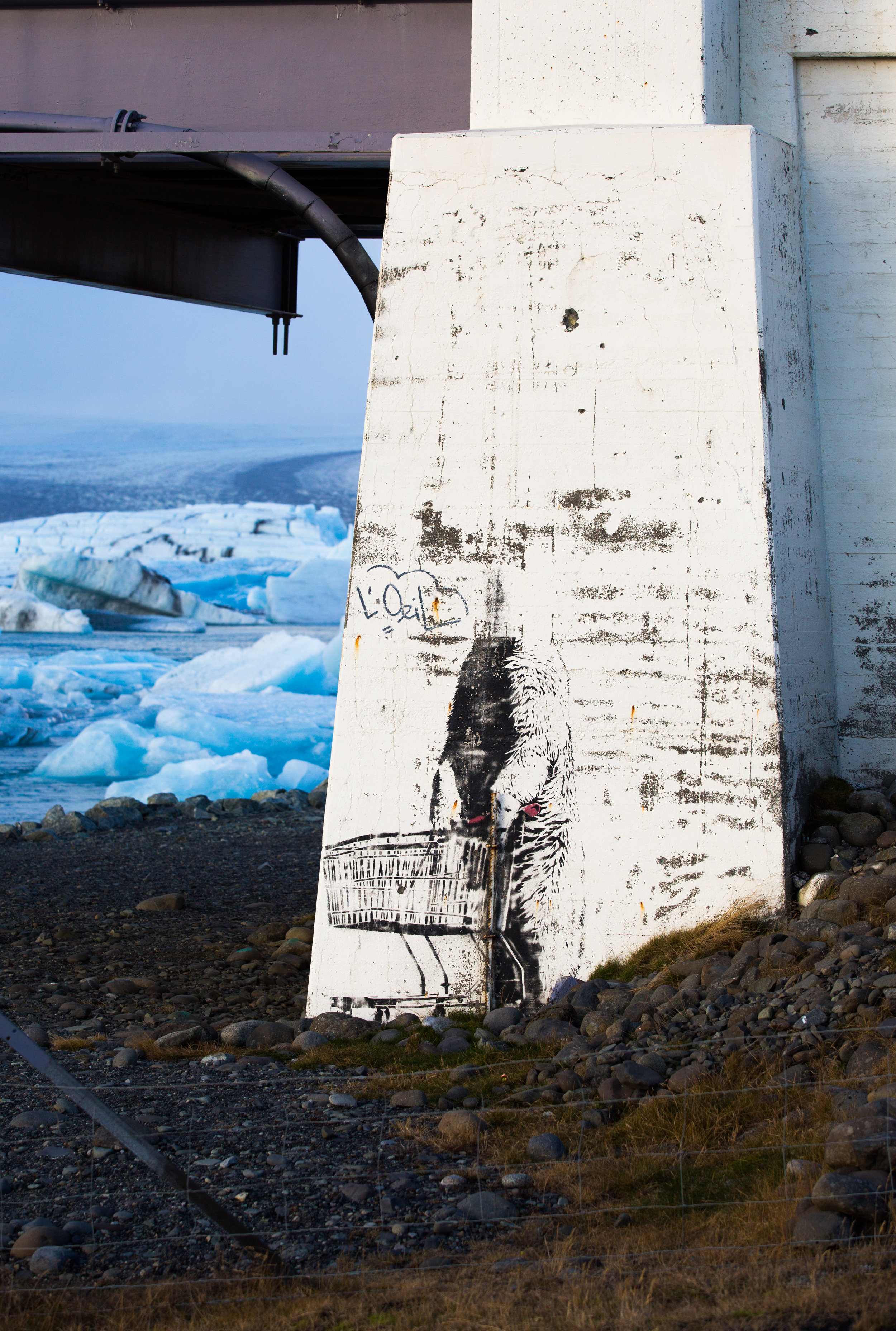 The rumor around here is that the graffiti on the bridge near Jokulsarlon was done by Banksy, but was in fact the art of Norwegian street artist Poble.