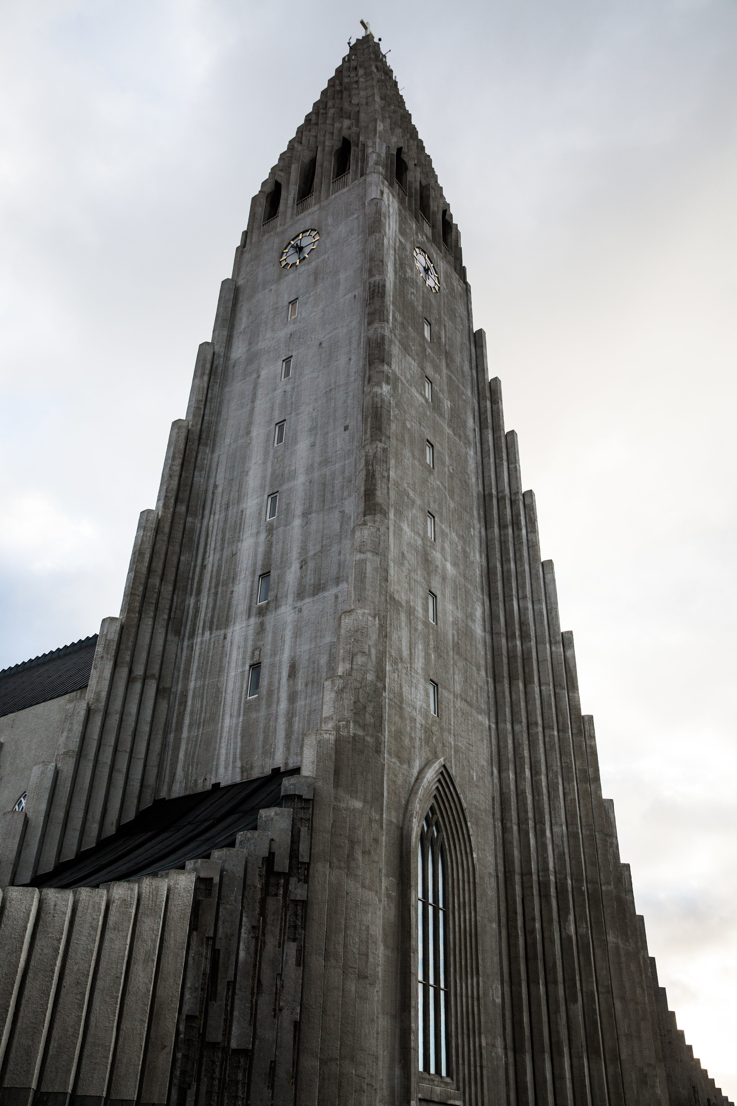 Halgrimskirkja, located in the center of Reykjavik, is a Lutheran parish church named after the poet and clergyman Hallgrimur Petursson. Commissioned in 1937 by State Architect Guðjón Samúelsson, is was inspired by the basalt lava flows throughout Iceland. Starting in 1945, the church was finally completed in 1986.