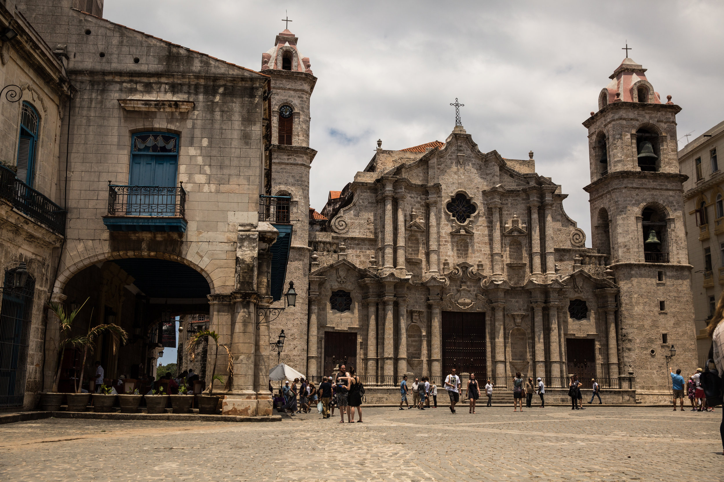 Outside the Havana Cathedral; one of the 11 Roman Catholic cathedrals on the island, and completed in 1777.