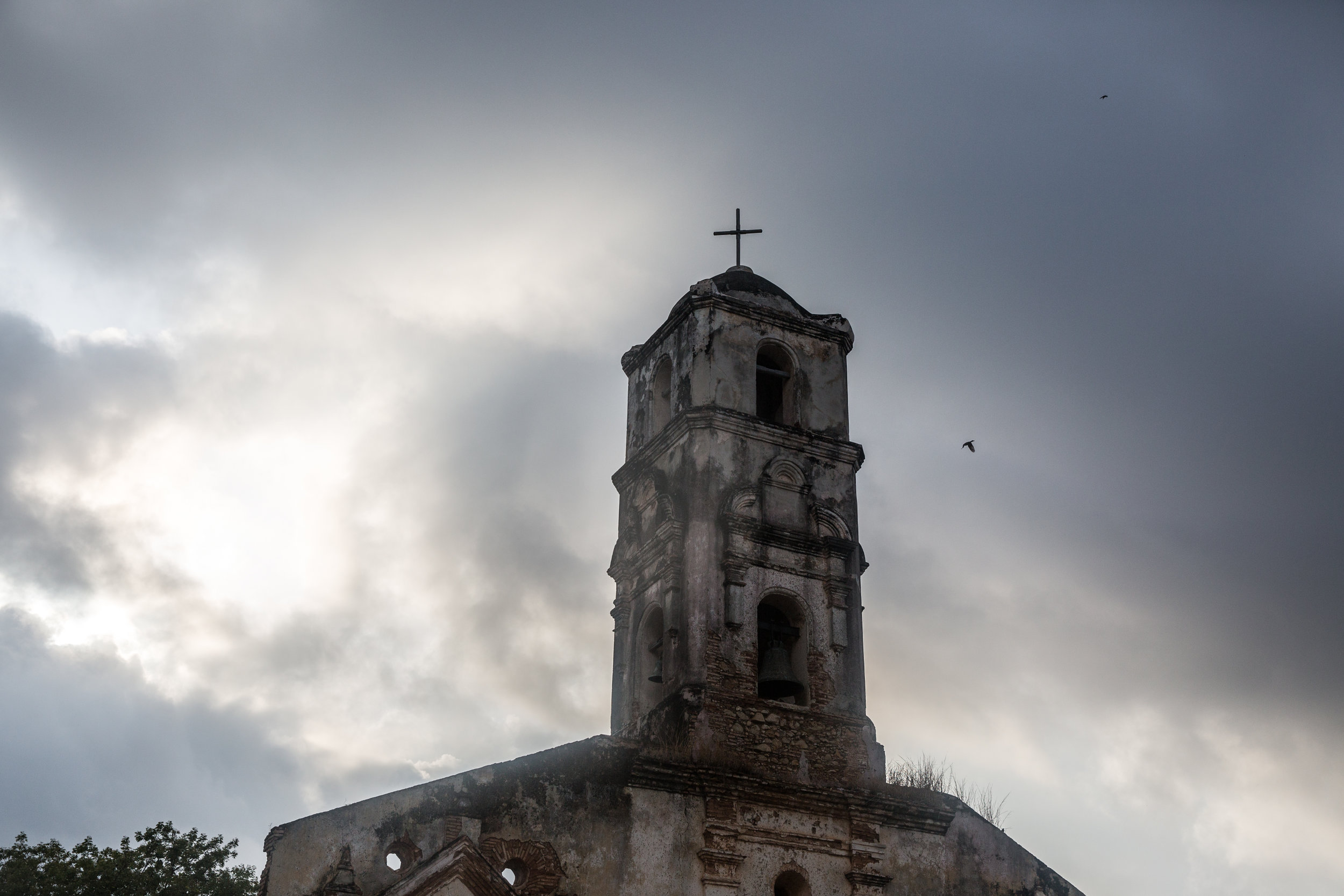 Rain rolling into the center of Trinidad over one of the many churches in the city on our last evening in Trinidad.