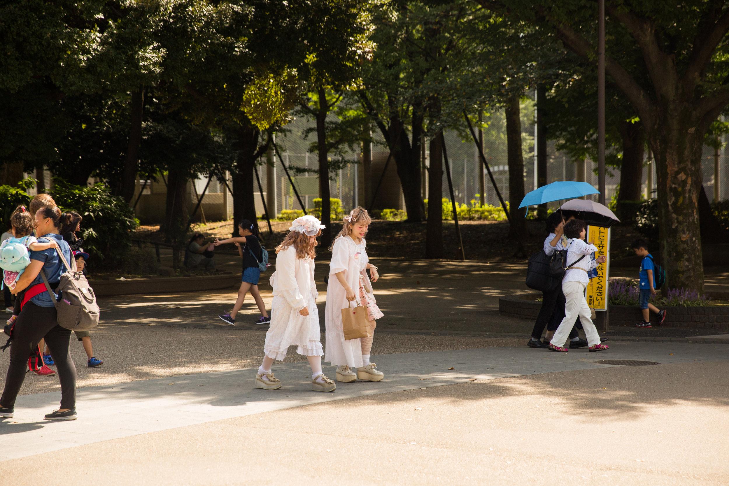 Sweet Lolita fashionistas on a stroll.