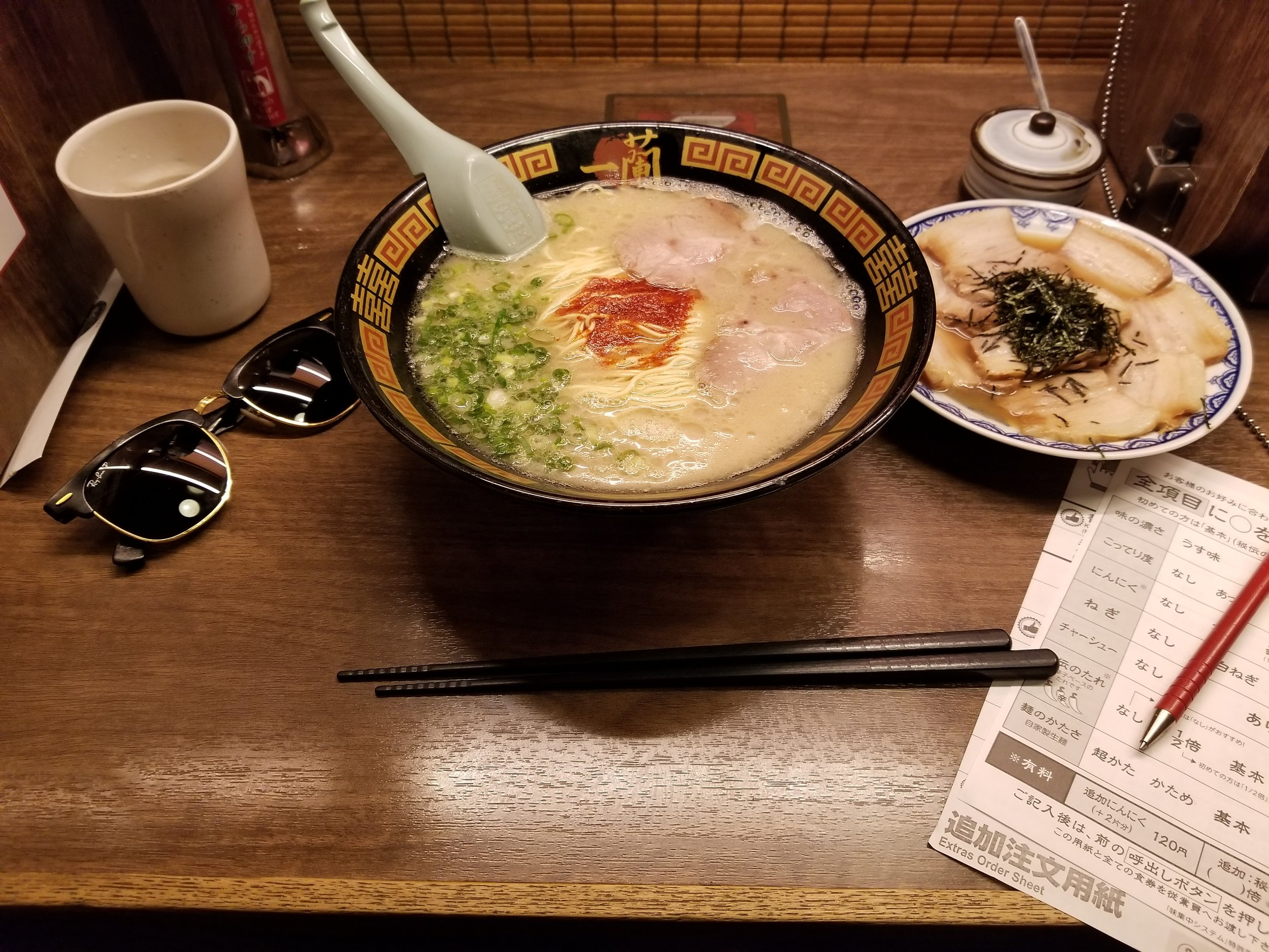 Tomo introduced me to a place called Ichiran ramen, and it is hands down the best I've ever had. This was my second visit of the day. Post drinking food in Japan may as well be called soul food.