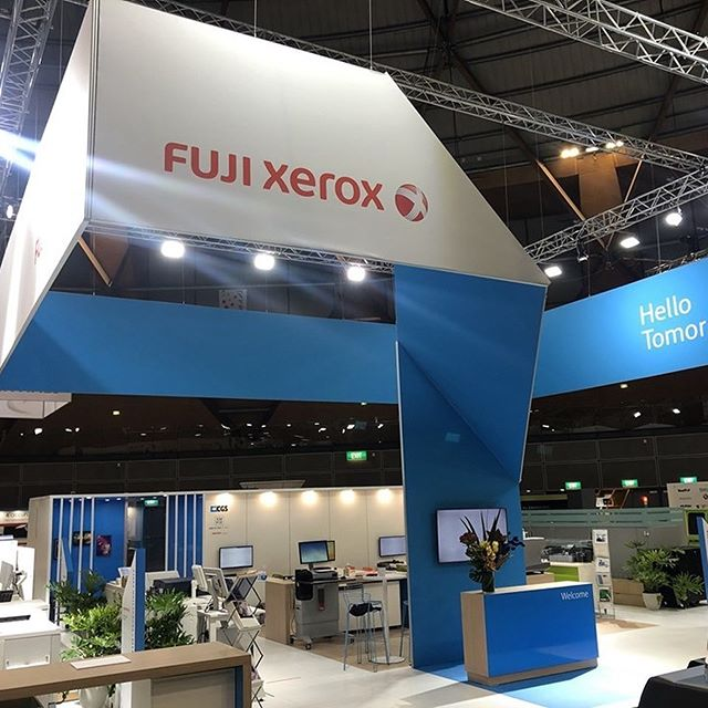 We designed and delivered the Fuji Xerox stand at PrintEx 2019! Check out this stunning piece of fabric architecture!  #printex2019 #fujixerox #branddimensions