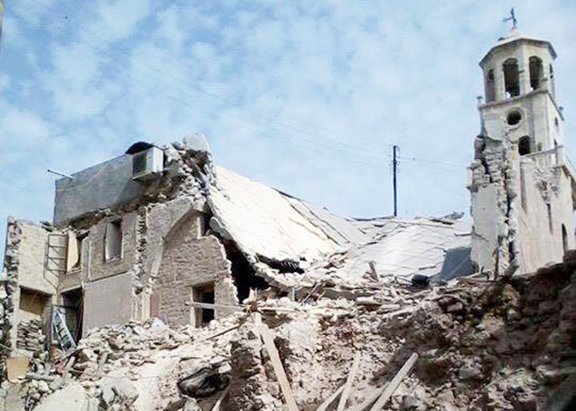 Recently destroyed 15th Century Armenian church of Forty Martyrs in Aleppo, Syria.
