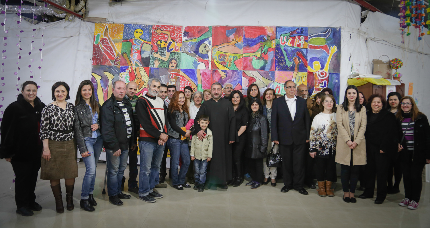 Group of early beneficiaries of the Oxfam/UNHCR/Diaspora sponsored rent subsidy program (Spring 2015, Armenia).