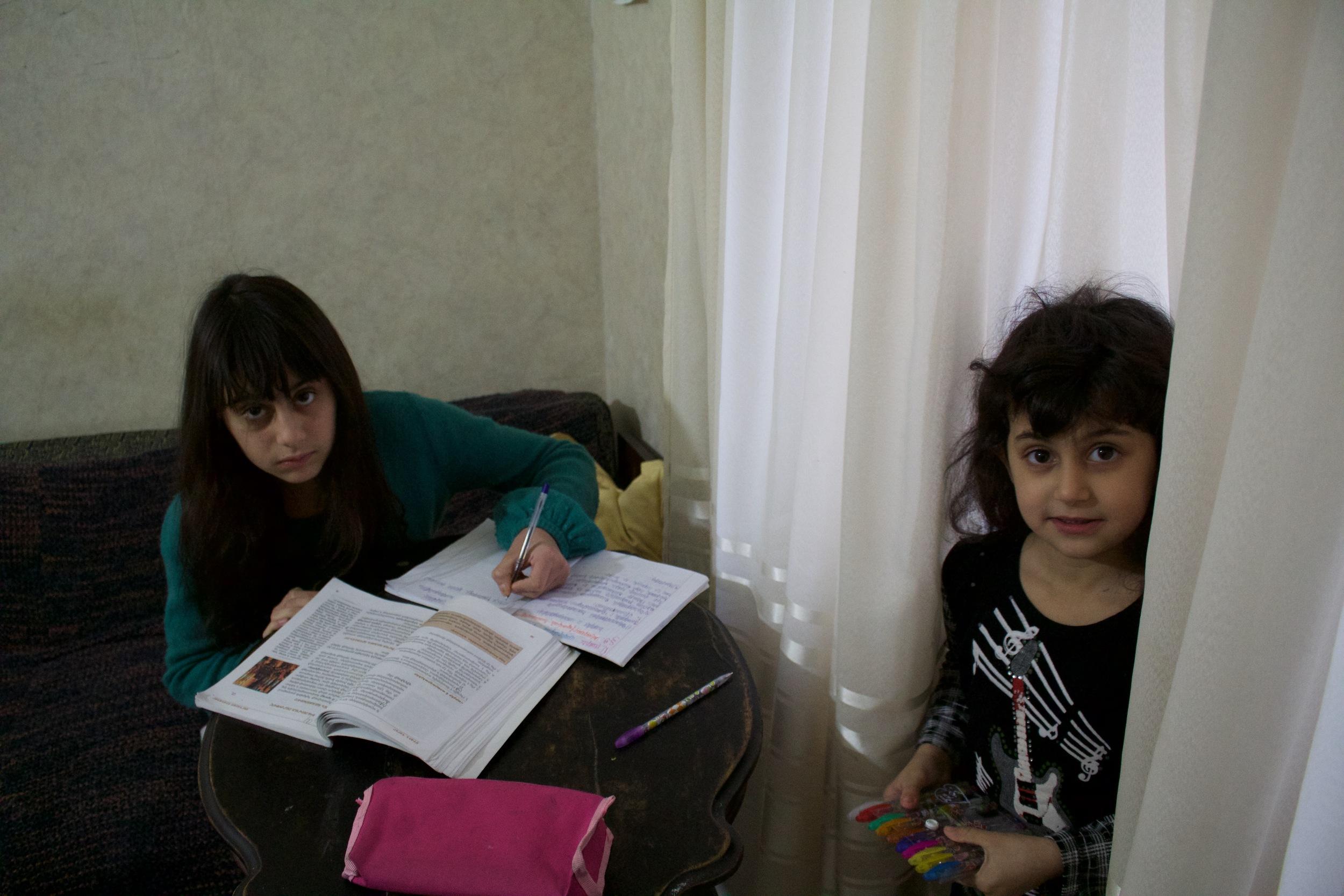 Arpi and Serli doing their homework