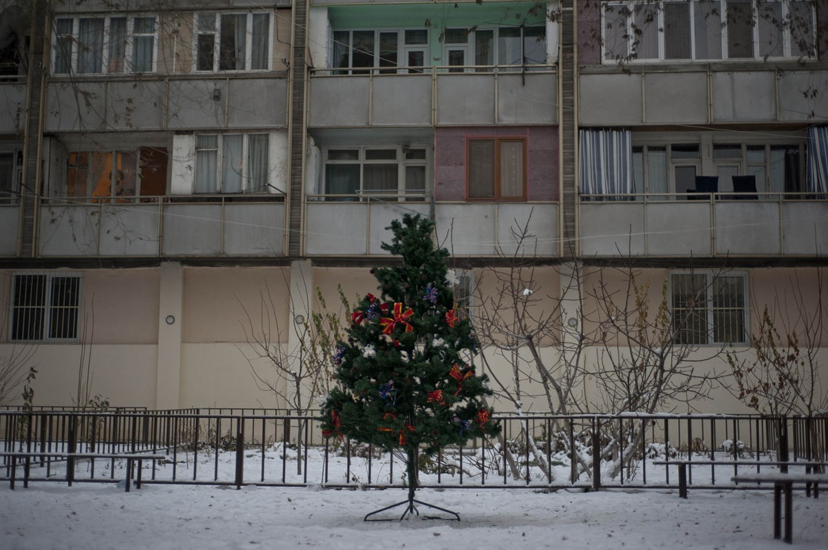 Apartment housing in Yerevan at Christmas time. Photo credit Nazik Armenakian on assignment for the Armenian Redwood Project.