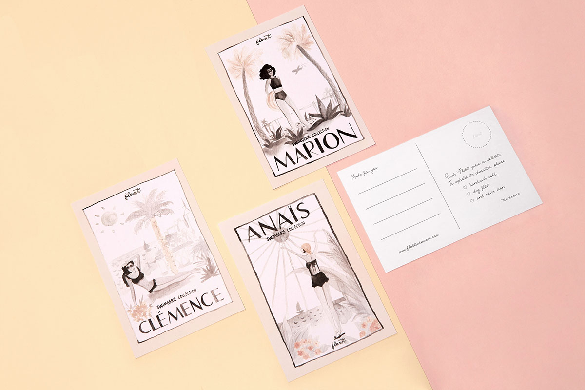 """Float's """"Swimgerie"""" collection came with postcards that visualized each swimsuit style as a travel destination."""