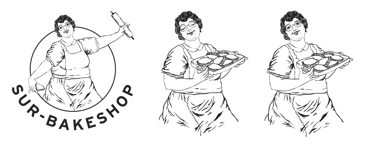 Illustrated studies for the grandma featured on the logo. The bakery was inspired by the owner's Argentinian grandma and her recipes.