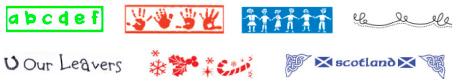 Full colour, tea towel border options: Green ABC. Red Hands. Blue Children. Black Lacy. Leavers. Christmas. Scotland