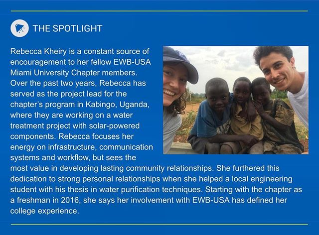 We may be thrilled finals week is over at @miamiuniversity, but we're ecstatic to have one of our project managers, Becca Kheiry, recognized by @ewbusa for amazing work on our Uganda project! Congratulations, Becca! 🗺🇺🇬💦