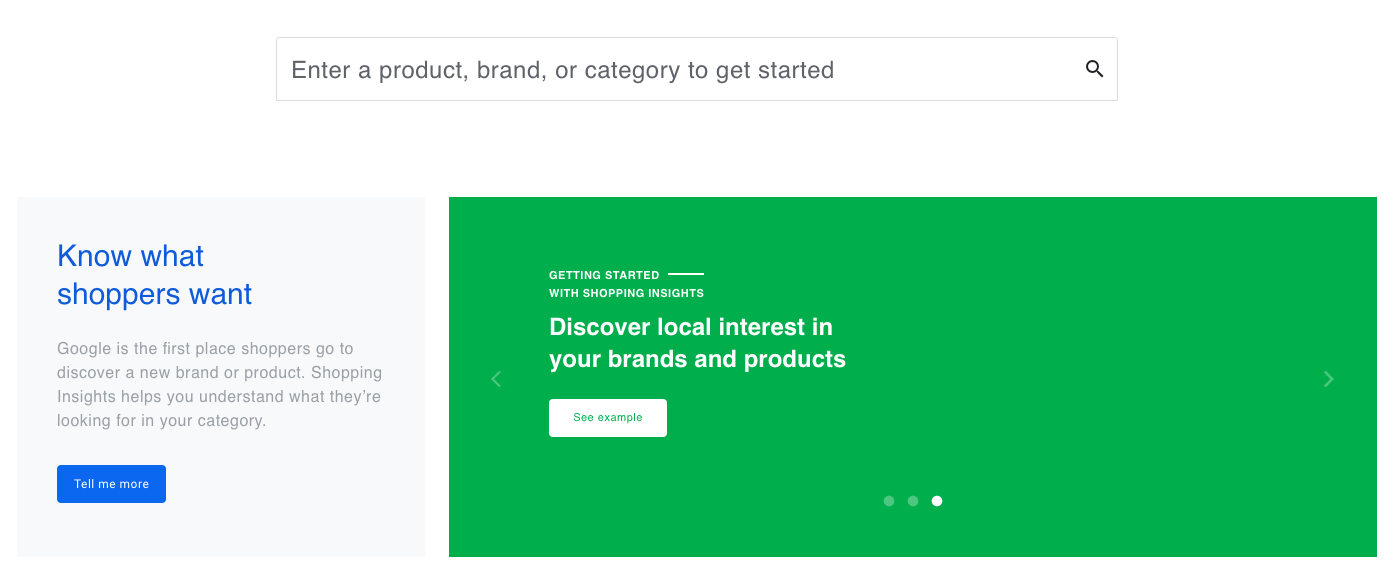 Marketing and UX copy for  Google Shopping Insights , a tool that analyzes shopping search data for retailers.