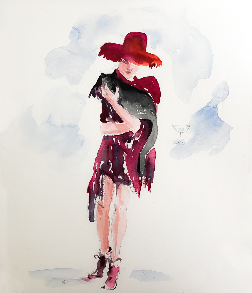 0422 Woman in Red Hat with Cat