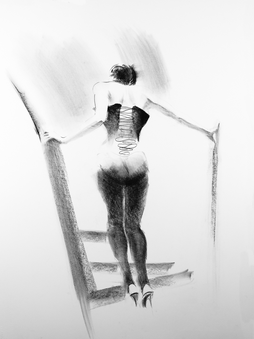 Woman on stair