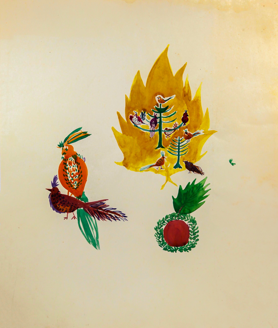 Parrot, Yellow Fire with Birds Inside, Red Pineapple