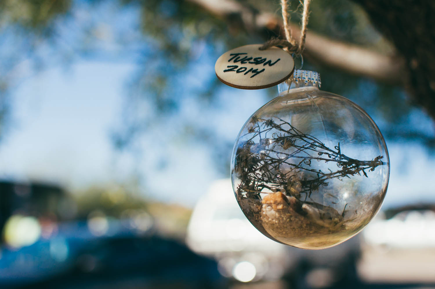 Our friend made a Christmas ornament for each of us that she filled with rocks, sand and dried plants that she picked on a hike so that we would remember this Christmas forever. It was the sweetest gift.