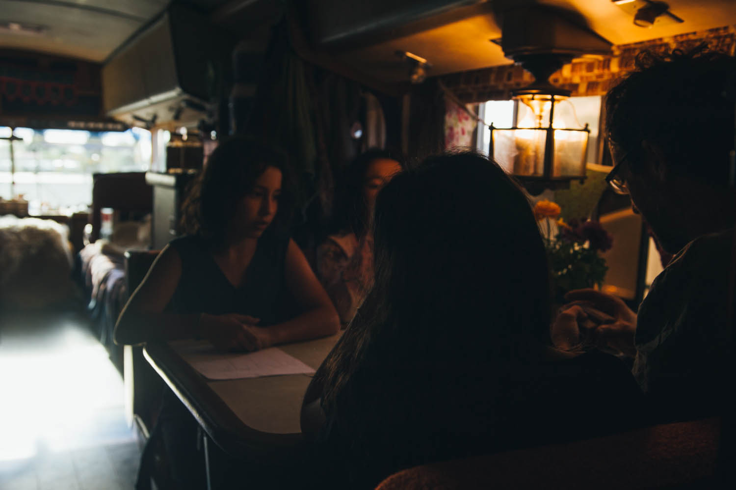 A game of Five Crowns in the bus in Salt Lake City, before the breakdown.