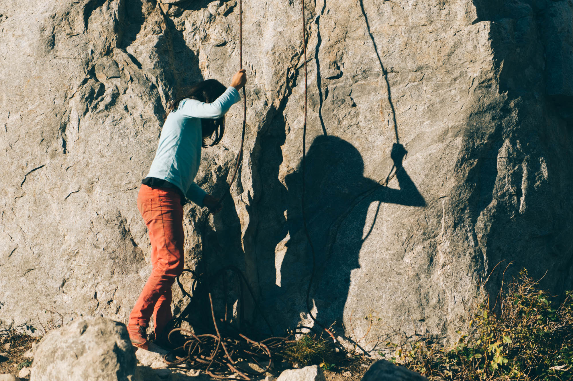 I love how her shadow seems to be angry... Her love-hate relationship with rock climbing!