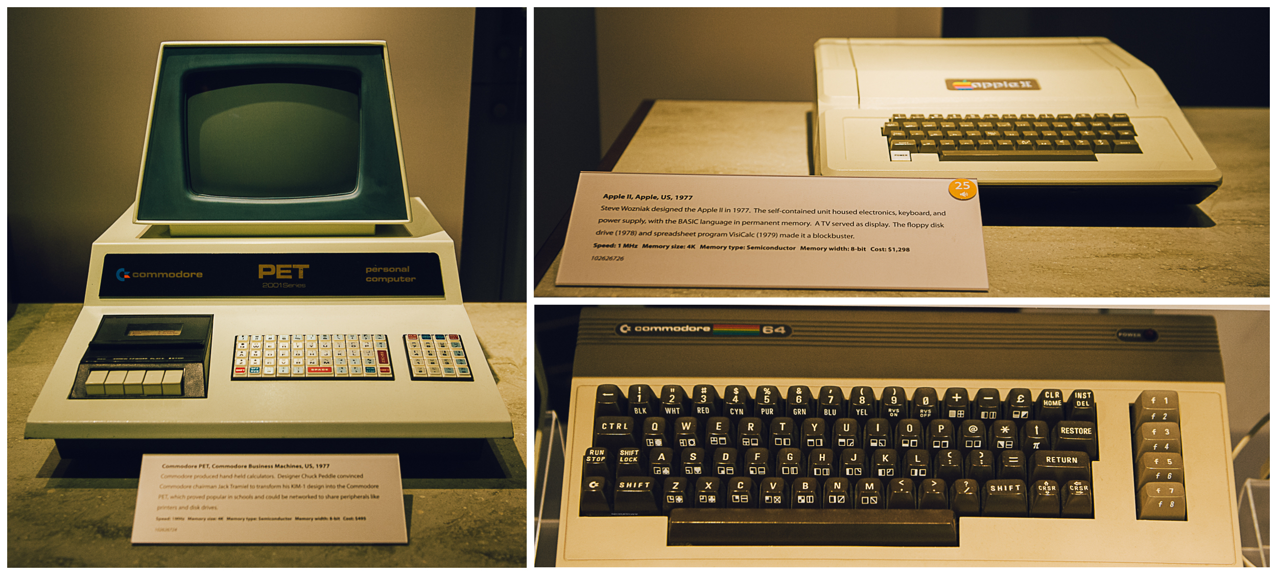 Left: PET the first Commodore with tape! Top right: the first Apple II. Bottom right: my first computer: a Commodore 64.... Hours and hours of video games with my dad!